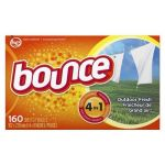 Bounce 80168 Dryer Sheet White, Solid, Scented, Outdoor Fresh (160 Sheet per Box, 6 Box per Case)